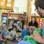 Dr. Bauer visits the Daycare