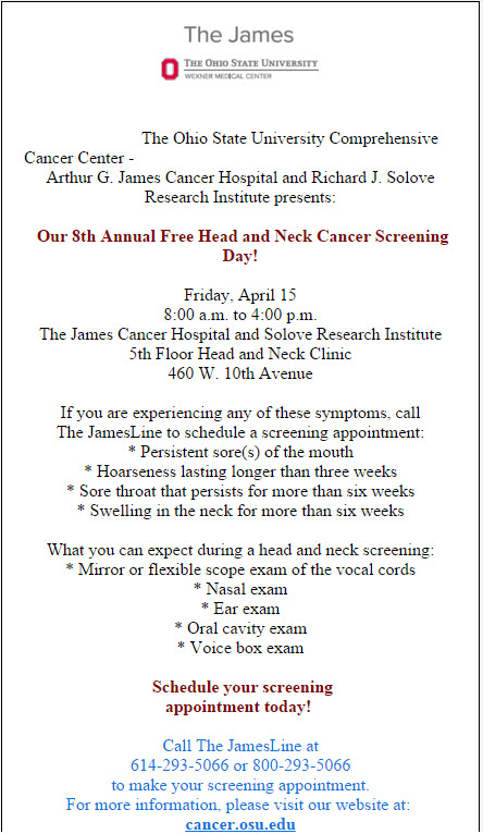 Free Cancer Screenings at The James