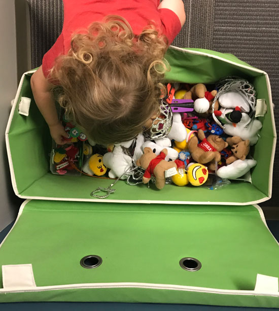 Toy chest after good dentist visit for child