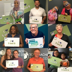 Collage of happy patients from Schumacher & Bauer, dentist in Columbus Ohio